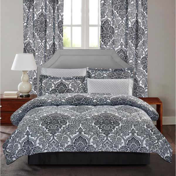 Brown & Grey Bingham 6-Piece Black Damask Twin Bed-In-Bag Set BG18BHBK1