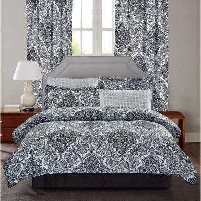 Bingham 8-Piece Black/White Queen Bed in a Bag Set