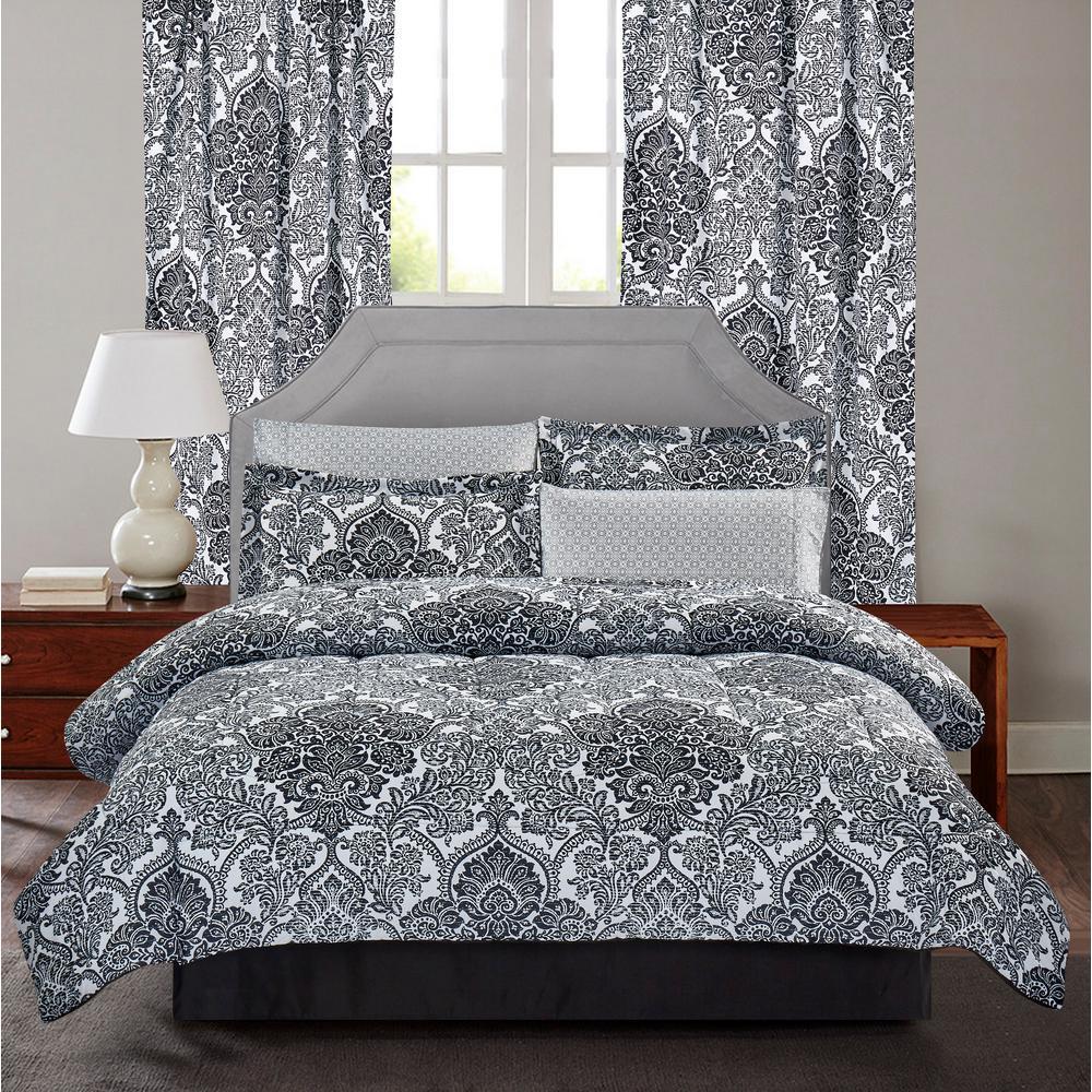 Bingham 8-Piece Black and White Damask King Bed-In-Bag Set