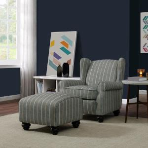 Handy Living Archie Charcoal and Tan Striped Fabric Wingback ...