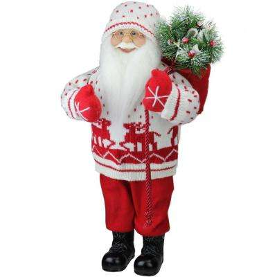 18.5 in. Retro Christmas Santa in Knit Deer Sweater with Sack of Pine Figure Decoration