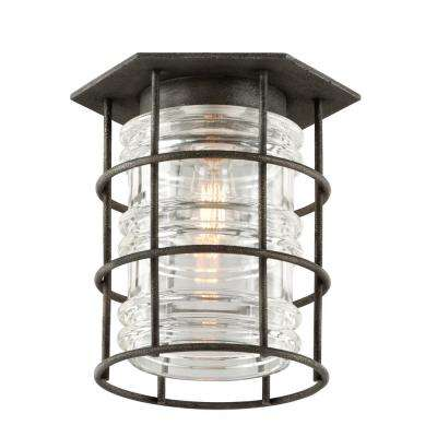 Brunswick Aged Pewter 1-Light Outdoor Flush Mount