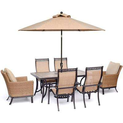 Monaco 7-Piece Aluminum Outdoor Dining Set with Tan Cushions, 2 Woven Chairs, 4-Chairs, Tile Table, Umbrella