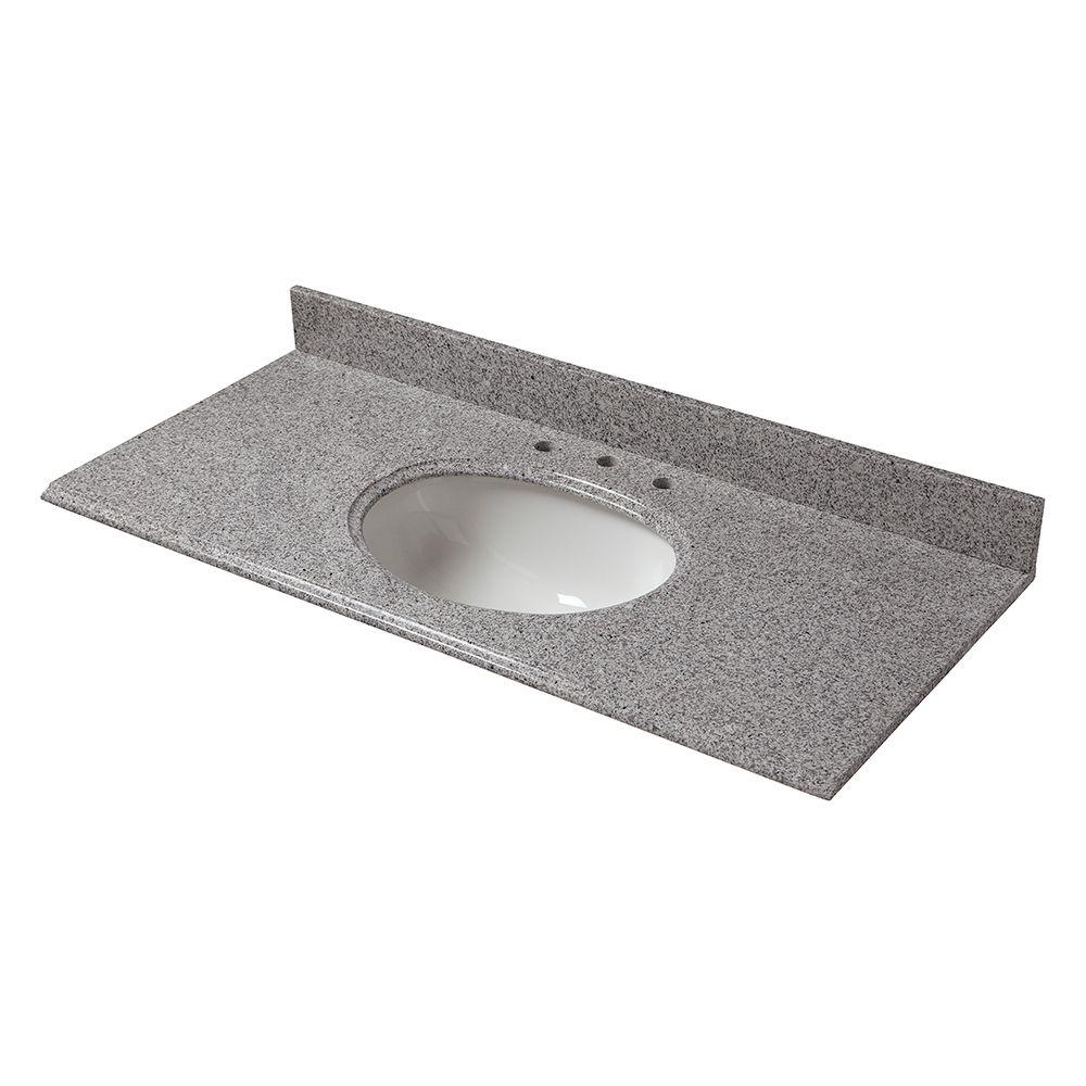 49 in. W Granite Vanity Top in Napoli with White Bowl