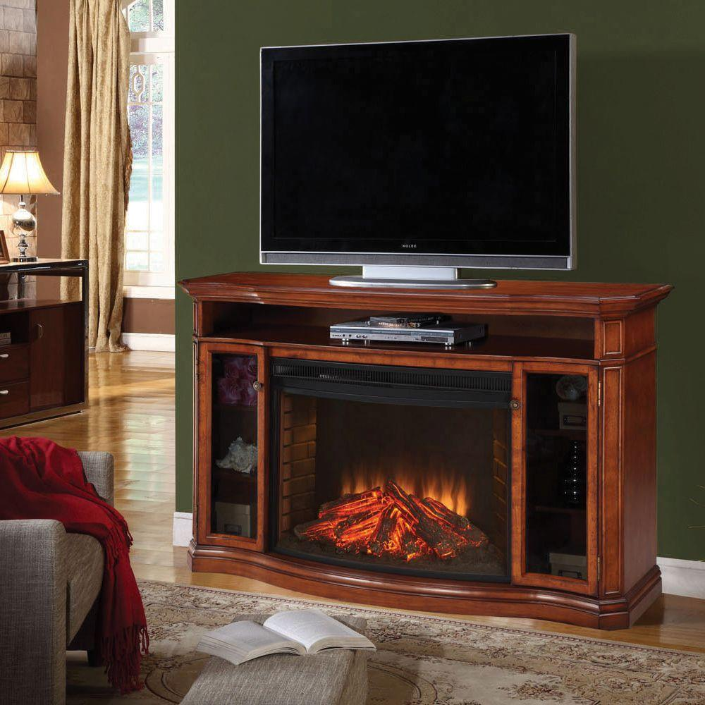 Muskoka Stewart 62 in. Media Console Electric Fireplace in Burnished Pecan