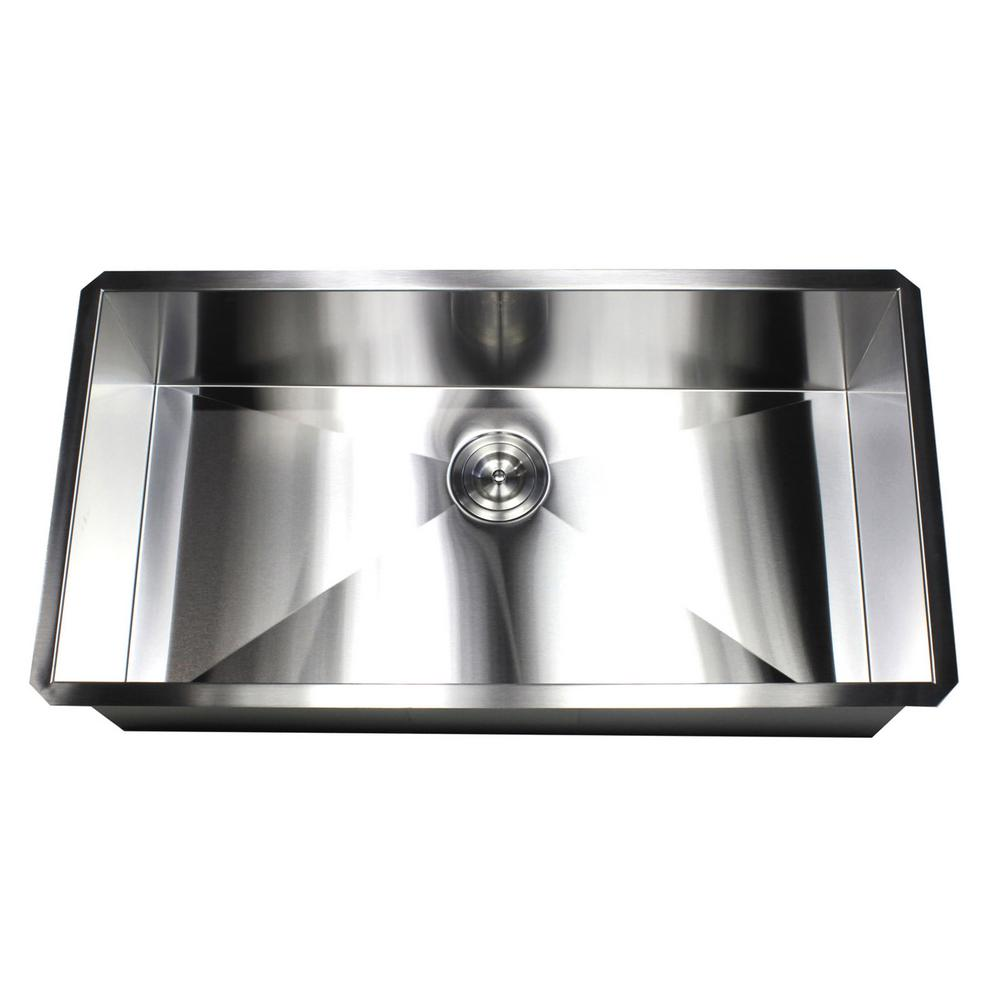 Undermount 36 in. x 19 in. x 10 in. Deep Stainless Steel 16-Gauge Single Bowl Zero Radius Kitchen Sink  sc 1 st  Home Depot & Kingsman Hardware Undermount 36 in. x 19 in. x 10 in. Deep Stainless ...