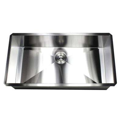 Undermount 36 in. x 19 in. x 10 in. Deep Stainless Steel 16-Gauge Single Bowl Zero Radius Kitchen Sink