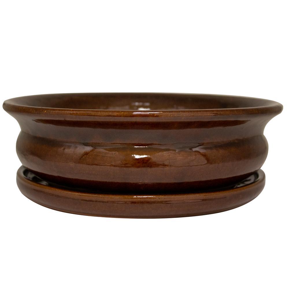 12 in. Dia Toffee Ceramic Carafe Bowl Planter