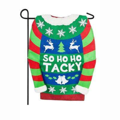 18 in. x 12.5 in. Tacky Holiday Sweater Garden Burlap Flag