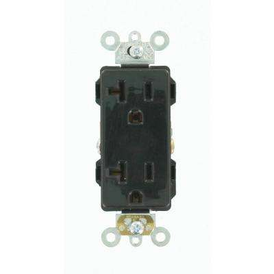 Decora Plus 20 Amp Industrial Grade Heavy Duty Self Grounding Duplex Outlet, Black