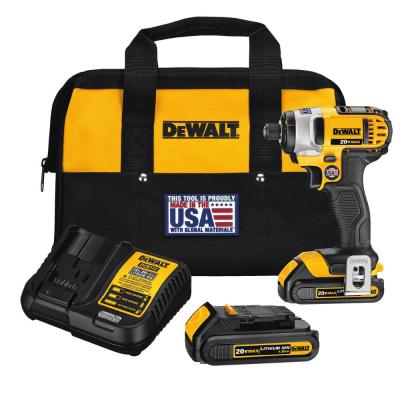 20-Volt MAX Lithium-Ion Cordless 1/4 in. Impact Driver with (2) Batteries 1.5Ah, Charger and Tool Bag