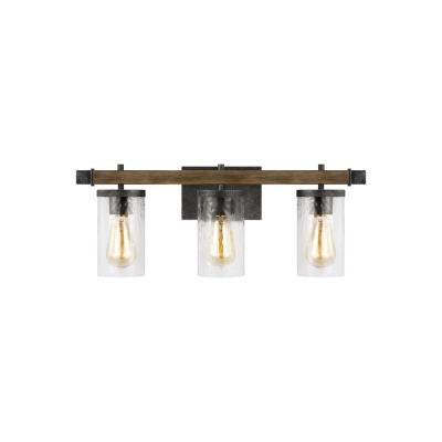 Angelo 3-Light Distressed Weathered Oak and Slate Grey Metal Vanity Light with Clear Thick Wavy Glass Shades