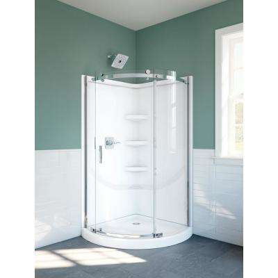 38 in. x 72 in. Frameless Corner Sliding Shower Door in Chrome