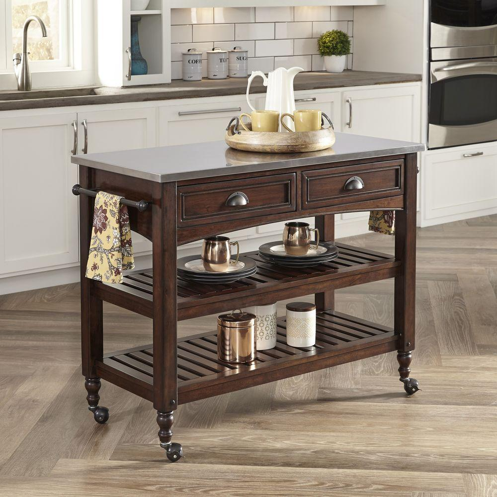 Home Styles Country Comfort Aged Bourbon Kitchen Cart With Stainless Steel  Top