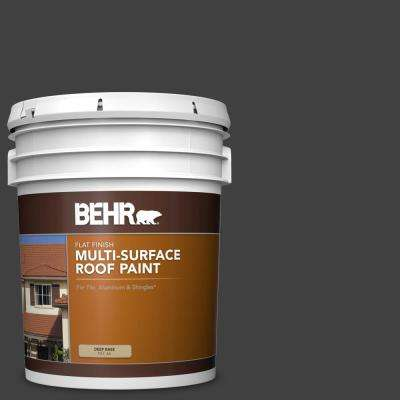 5 gal. #1350 Ultra Pure Black Flat Multi-Surface Exterior Roof Paint