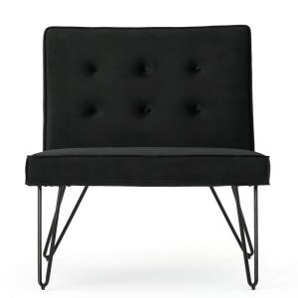 Enjoyable Noble House Darrow Modern Button Back Black Velvet Armless Inzonedesignstudio Interior Chair Design Inzonedesignstudiocom