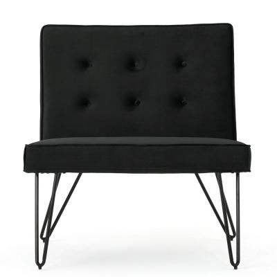 Darrow Modern Button Back Black Velvet Armless Chair