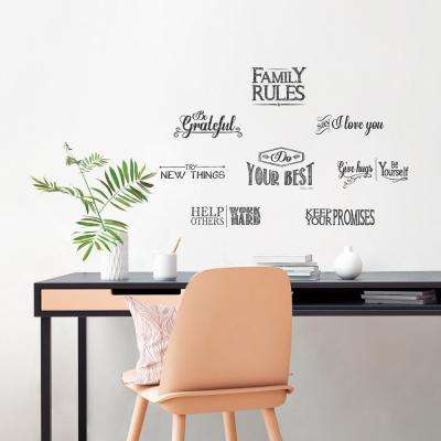 Black Lettering Family Rules L And Stick Wall Decals