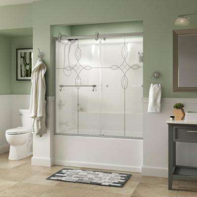 Portman 60 in. x 58-3/4 in. Semi-Frameless Contemporary Sliding Bathtub Door in Nickel with Tranquility Glass