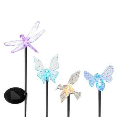 Solar Powered LED Assorted Acrylic Insect Garden Stake Set (4-Pack)