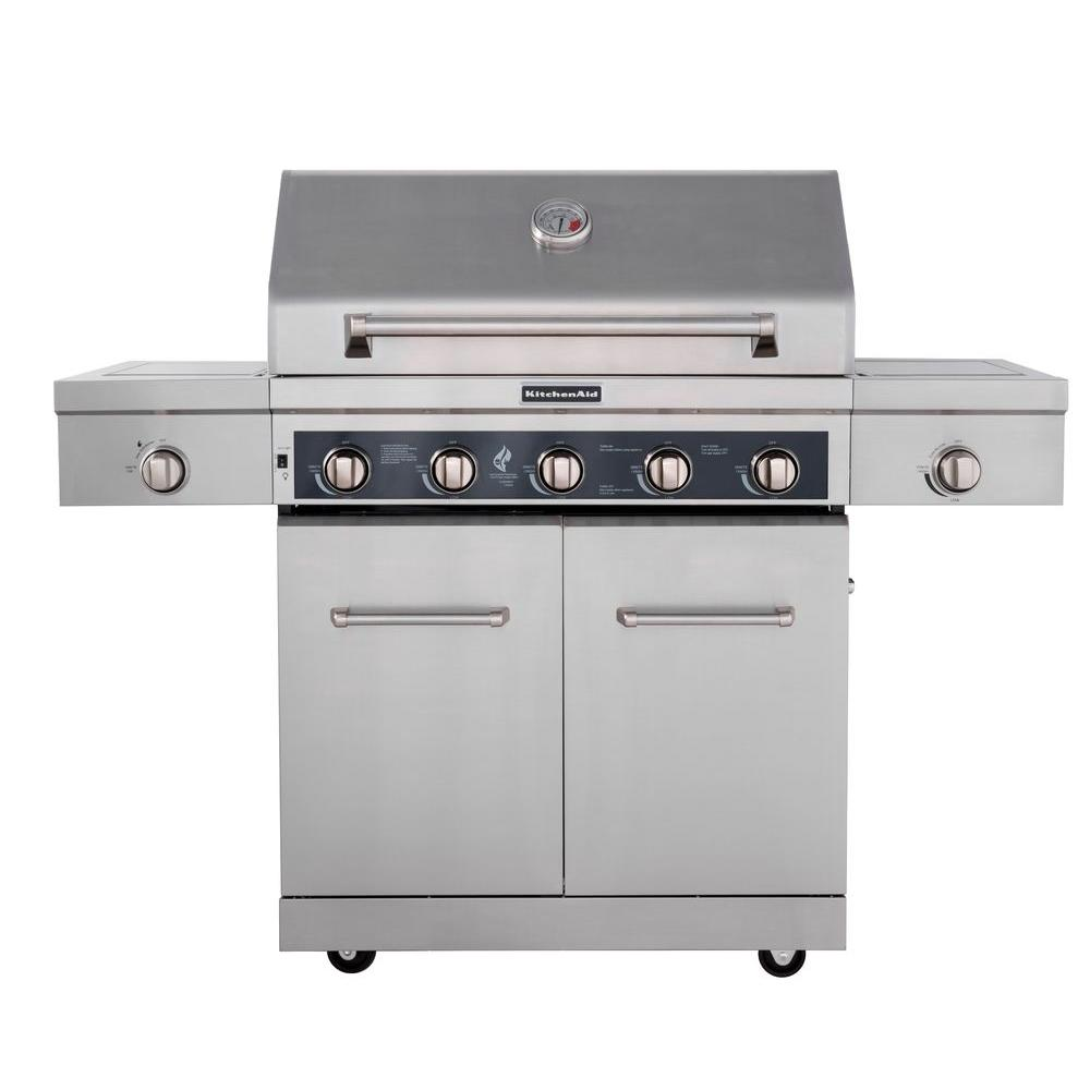 Kitchenaid 5 burner propane gas grill in stainless steel for B kitchen glass grill
