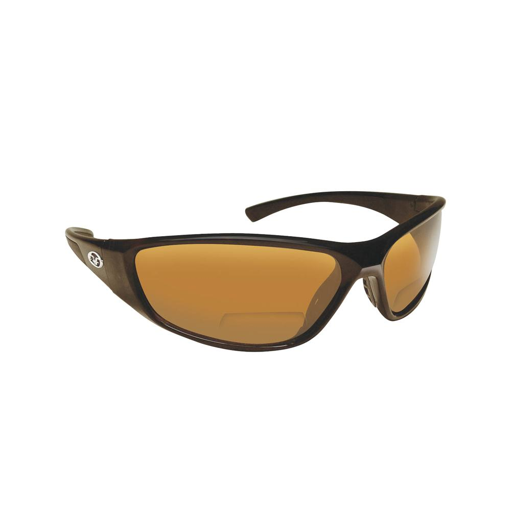 c4efc8f42d Flying Fisherman Falcon Polarized Sunglasses Black Frame with Amber Lens  Bifocal Reader 150