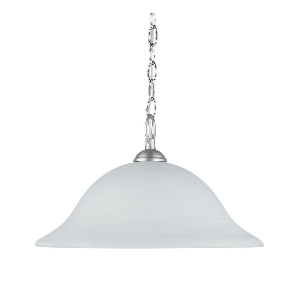 Chloe Lighting Transitional 1-Light Satin Nickel Ceiling Pendant Fixture with Frosted Alabaster Glass Shade