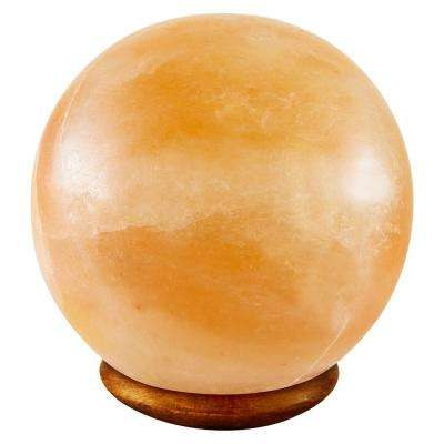 Himalayan Crystal Rock Salt 6.5 in. Pink Ball Shape Lamp with Wood Base Electric Wire and Bulb