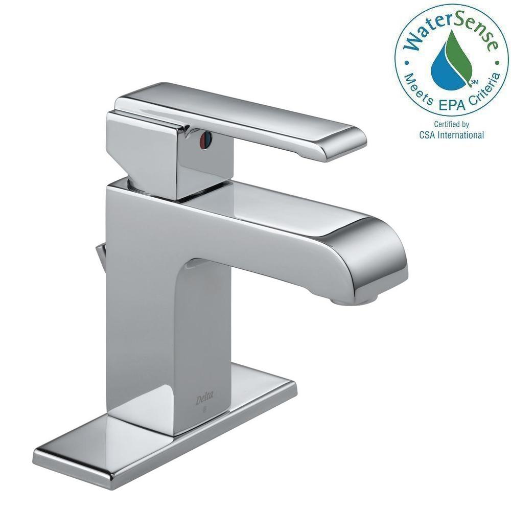Delta Arzo Single Hole Single-Handle Bathroom Faucet with Metal Drain Assembly in Chrome