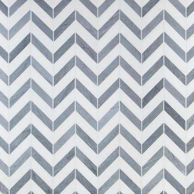 Dart Mabin Gray and White Thassos Herringbone 10.75 in. x 10.87 in. x 10mm Marble Mosaic Tile (.81 sq. ft.)