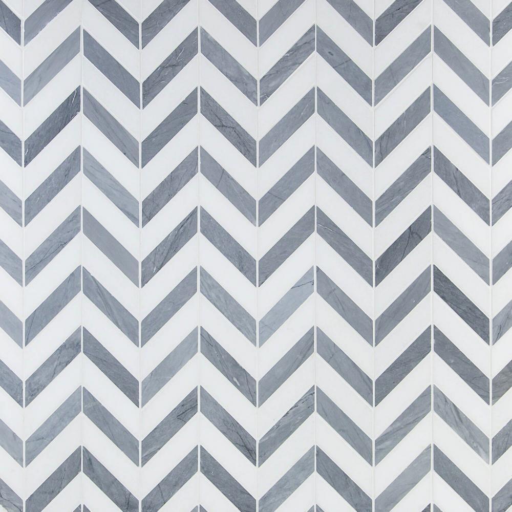 Dart Mabin Gray and White Thassos Herringbone 10.75 in. x 10.87 in. x 10mm Marble Mosaic Tile (.81 sq. ft.)