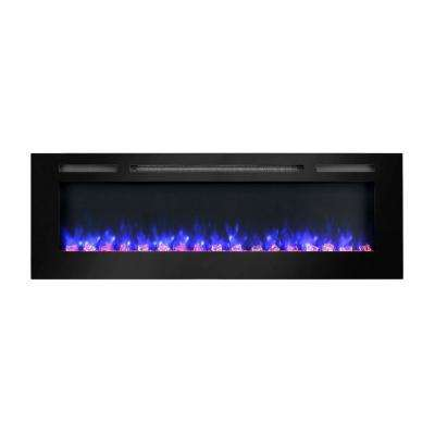 60 in. Built-in LED Electric Fireplace in Black Glass