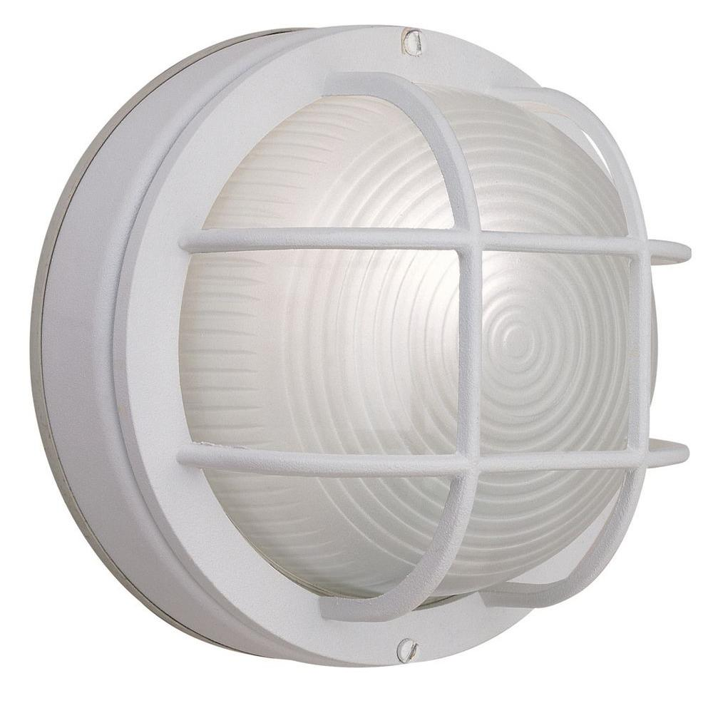 Hampton Bay 1 Light White Outdoor Round Wall Bulkhead Hb8824p 06 The Home Depot