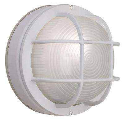 1-Light White Outdoor Round Wall Bulkhead Light
