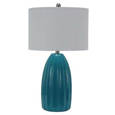 Cannon 27 in. Blue Table Lamp with Linen Shade