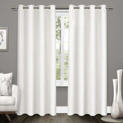 Tweed 52 in. W x 96 in. L Woven Blackout Grommet Top Curtain Panel in Winter White (2 Panels)