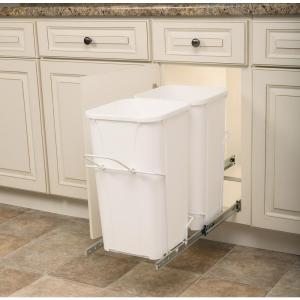 Knape & Vogt 11.37 inch x 22 inch x 18.75 inch In Cabinet Pull-Out Bottom Mount Trash Can by Knape & Vogt