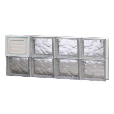 31 in. x 11.5 in. x 3.125 in. Frameless Wave Pattern Glass Block Window with Dryer Vent