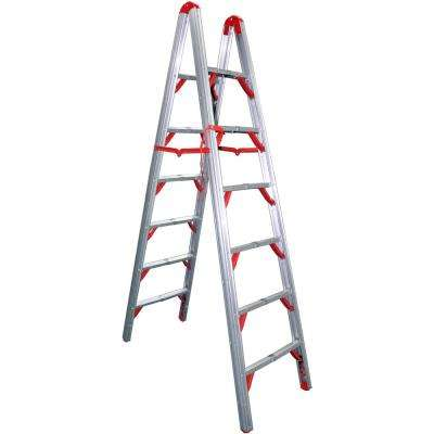 7 ft. OSHA Compliant Double Sided Aluminum Folding Step Ladder (STIK)