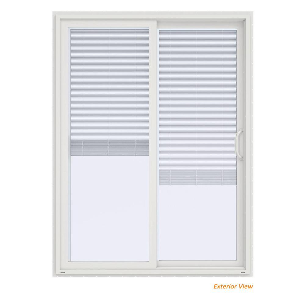 60 in. x 80 in. V-4500 Contemporary White Vinyl Right-Hand Full Lite Sliding Patio Door w/Blinds