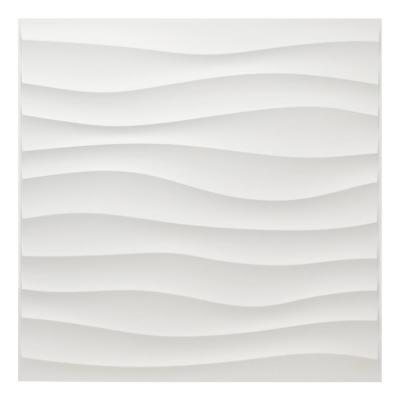 19.7 in. x 19.7 in. White PVC 3D Wall Panels Wavy Wall Design (12-Pack)