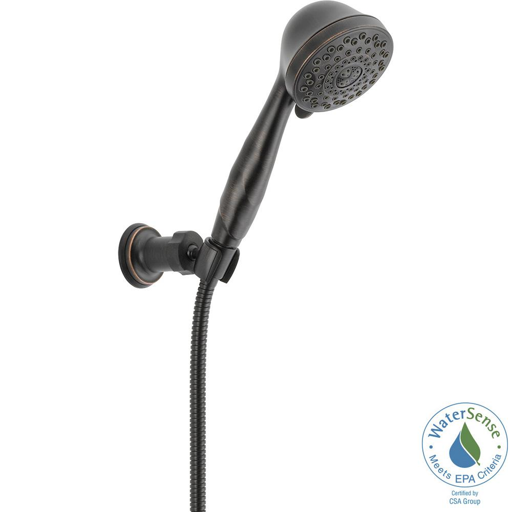7-Spray Adjustable Wall Mount Hand Shower with Pause in Venetian Bronze