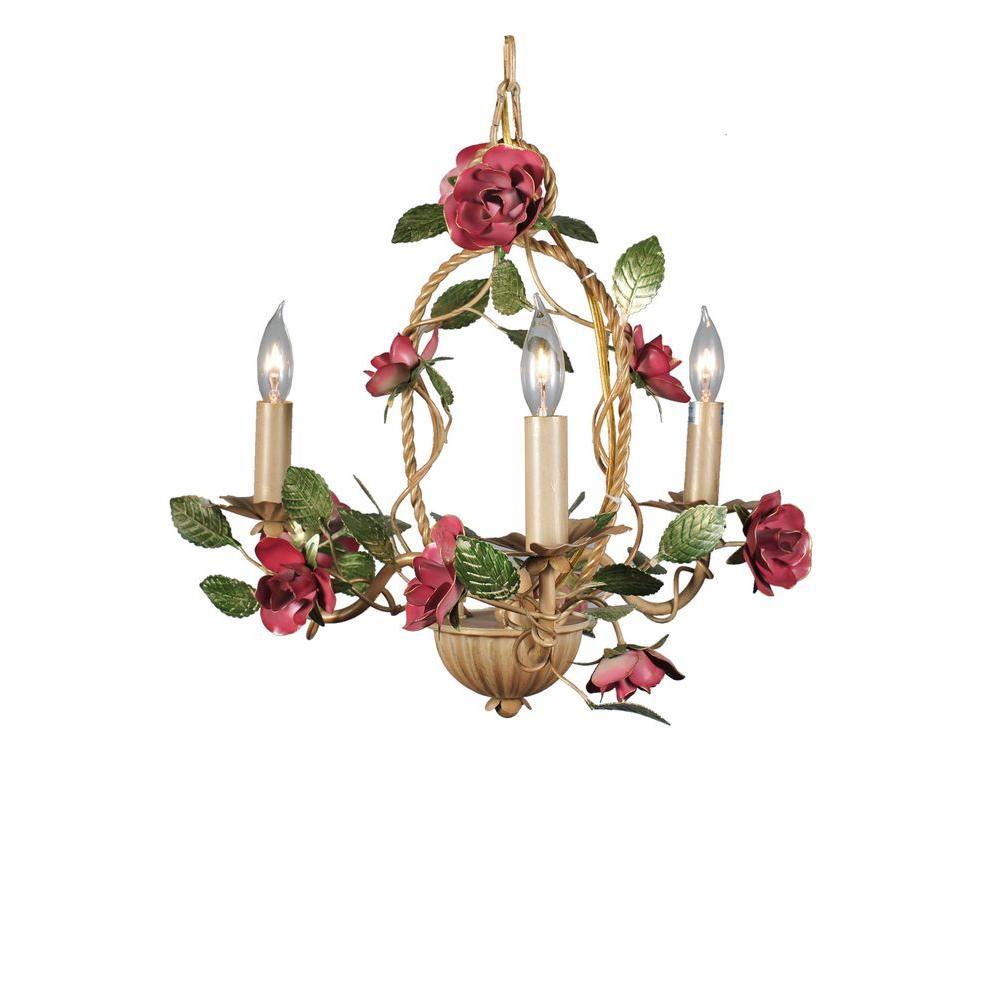 Illumine 3 Light Rose Basket Chandelier