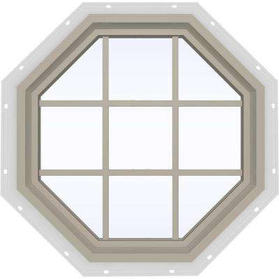 35.5 in. x 35.5 in. V-4500 Series Fixed Octagon Vinyl Window with Grids - Tan