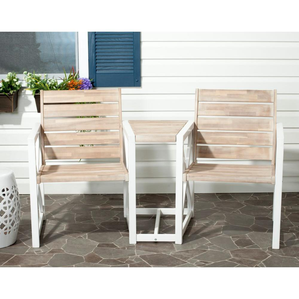 Safavieh Jovanna White/Oak Acacia Wood 2-Seat Patio Bench