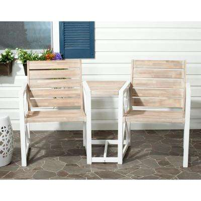 Jovanna White/Oak Acacia Wood 2-Seat Patio Bench