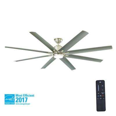 Kensgrove 72 in. LED Indoor/Outdoor Brushed Nickel Ceiling Fan with Light Kit and Remote Control
