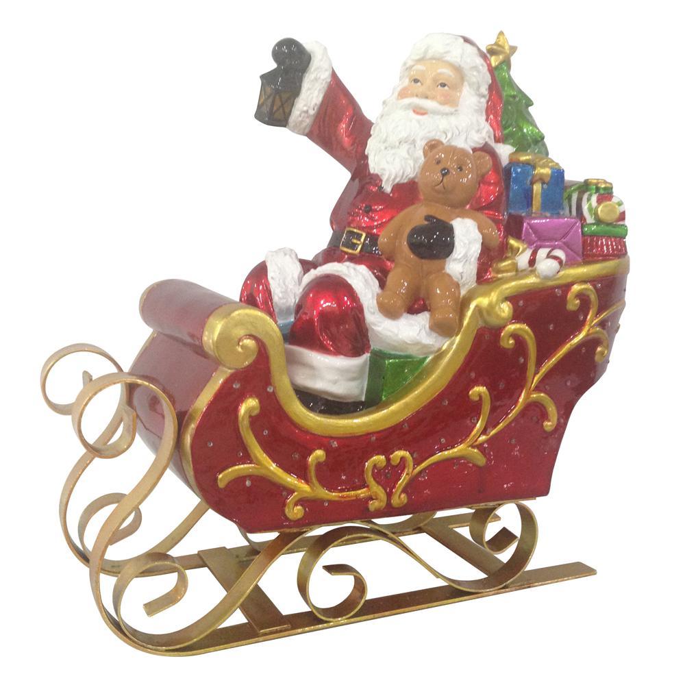 12 in. H Fiber Optic Santa with LED Light