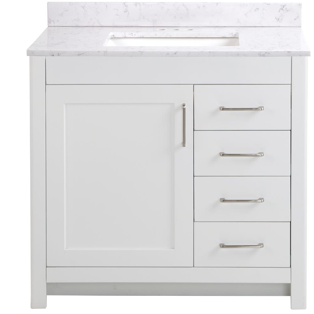 Home Decorators Collection Westcourt 37 in. W x 22 in. D x 38.50 in. H Bath Vanity in White with Stone Effect Vanity Top in Pulsar with White Sink