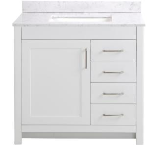 Westcourt 37 in. W x 22 in. D x 38.50 in. H Bath Vanity in White with Stone Effect Vanity Top in Pulsar with White Sink